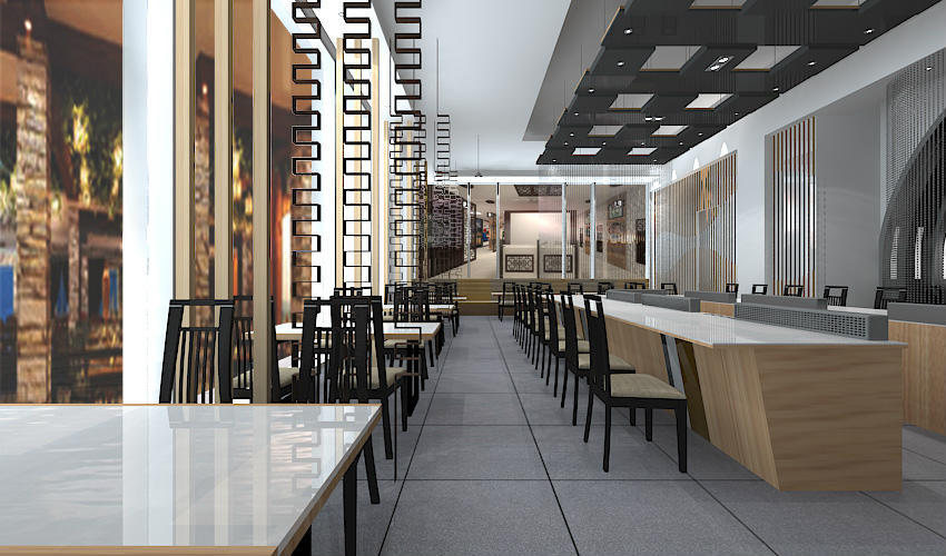 深圳沙井西荟城全台铁板烧餐厅设计装修案例图2