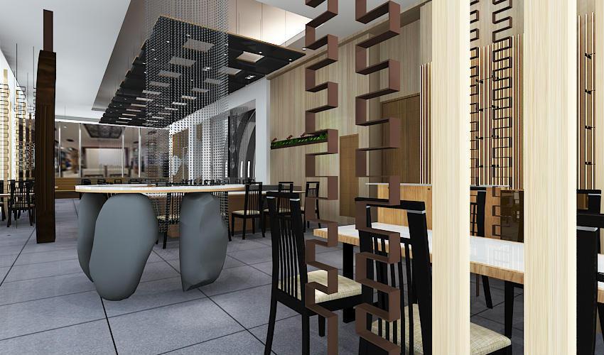 深圳沙井西荟城全台铁板烧餐厅设计装修案例图4